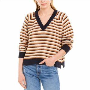 MADEWELL Arden V-Neck Crop Striped Sweater